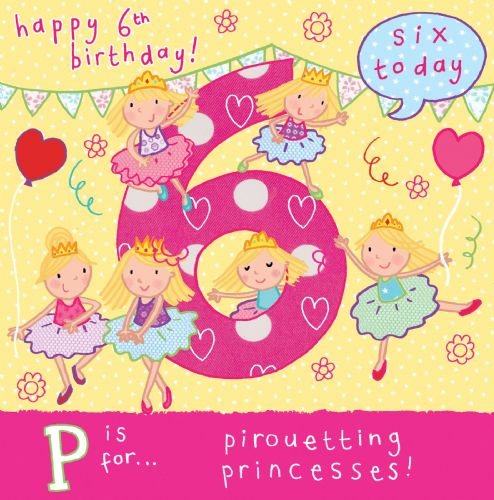 Age 6 Princess Birthday Card TW056